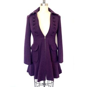Nanette Lepore Purple A-Line Victorian Gothic Coat